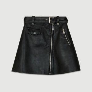 Maje A-Line Leather Mini Skirt, size 2, EUC